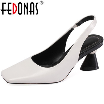 FEDONAS Back Strap Genuine Leather Women Sandals Top 2020 Summer Fashion Thick Heels Pumps Wedding Party Shoes Woman Heels