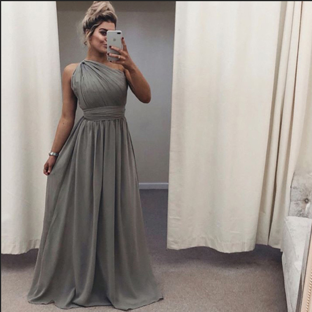 bridesmaid dresses 2019 one shoulder chiffon Gray wedding guest dress a-line Pleated floor length wedding party dress