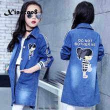 купить Girls jacket autumn kids denim jacket girls outwear clothing children letter long coat 6~16Years big girls jackets Windbreaker дешево