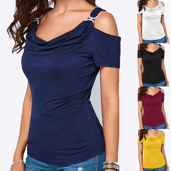 25#Women Casual tshirt Cold Shoulder Draped Collar Shirt Plus Size tshirt Short Sleeve Top T-Shirt haut femme футболка женская 1