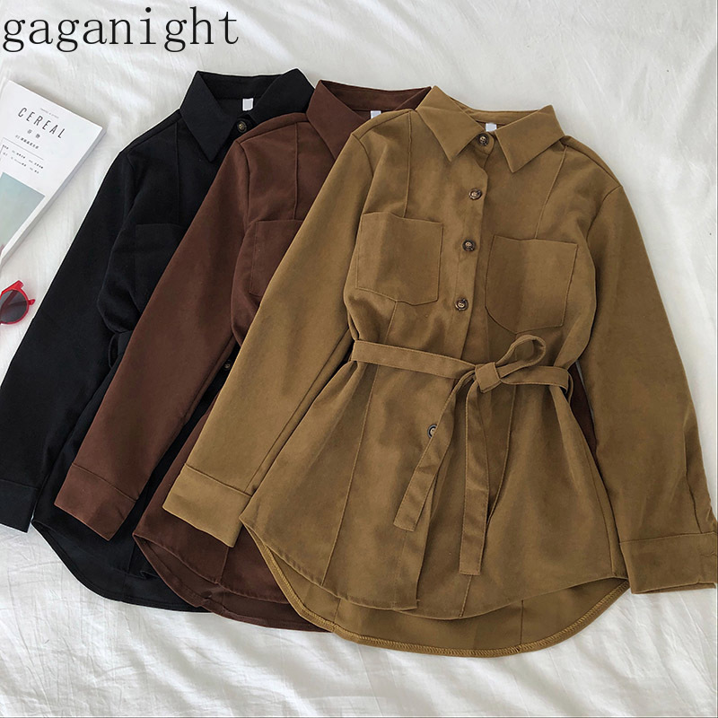 Gaganight Vintage Solid Women Blouse Casual Loose Office Lady Shirt Spring Autumn New Fashion Blusas Korean Single Breasted Chic