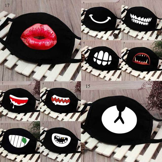 New Cartoon Black Kpop Anime Mouth Mask Cotton Lucky Bear Tooth Women Men Muffle Face Mouth Masks Windproof  Masks Resuable Mask