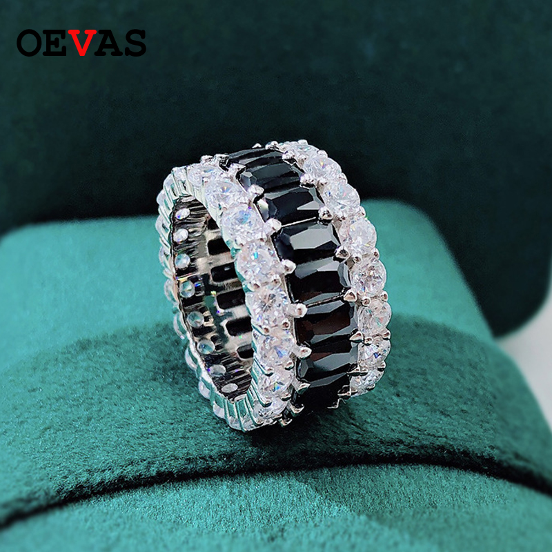 OEVAS 100% 925 Sterling Silver Sparkling 5MM 5A Zircon High Carbon Diamond Rings For Women Party Fine Jewely Anniversary Gift