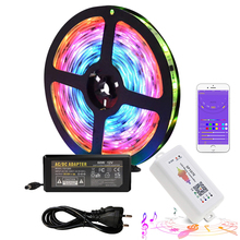 12V ws2811 RGB LED Strip Lights Kit Addressable Dream Color LED Lighting with Chasing Effect SP107E Music Controller power 5M