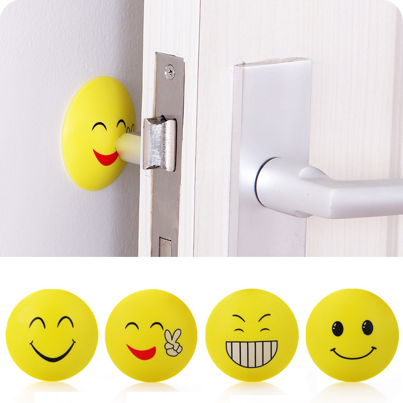 Cute Smiley Rubber Doorknob Protective Shock Collision Rails Mat Silent Rear Pad Door Handle Anti Collision Wall Buffer Stickers