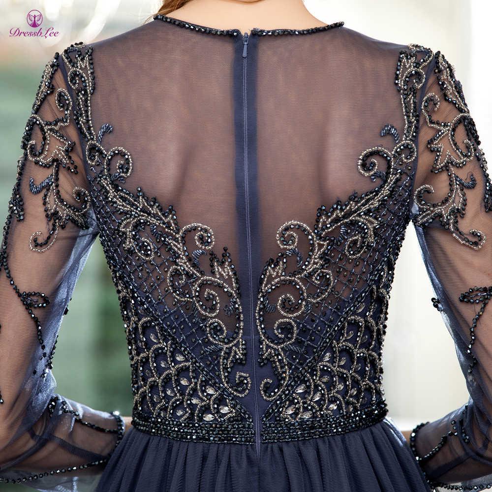 Блестящее вечернее платье с кристаллами темно-синего цвета, Длинные Выпускные платья с длинными рукавами, элегантные вечерние платья 2020, торжественное платье, vestido de festa