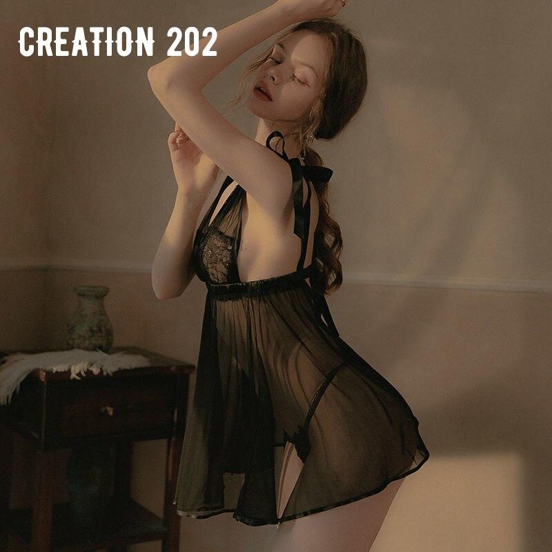 Creation 202 Women's Sexy Nightdress Transparent Sexy Mesh Nightdress Seductive Home Wear Pajamas