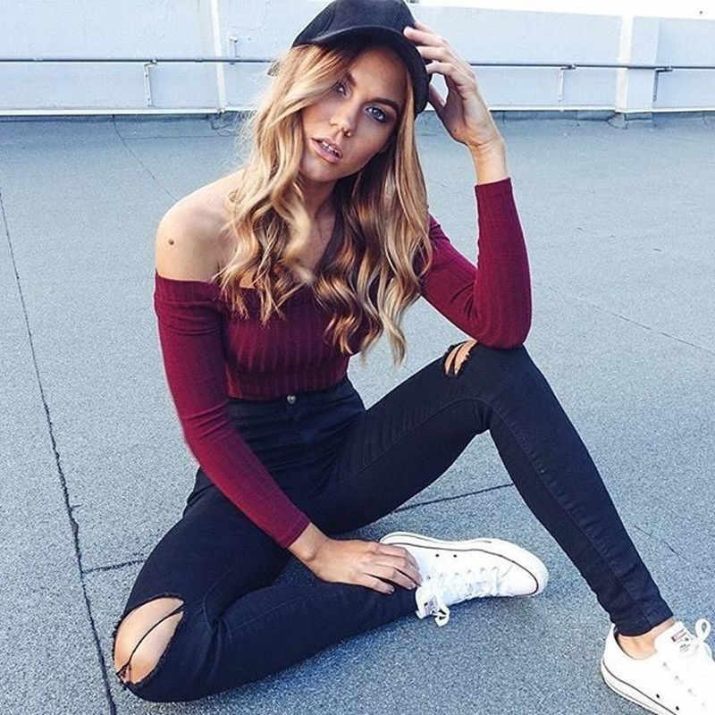 여성 캐주얼 하이 패션 오프 숄더 화이트 스웨터 풀오버 자르기 탑 자른 섹시한 당겨 Femme 블랙 티 기본 니트웨어