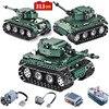 313Pcs באיכות גבוהה חשמלי שלט רחוק סדרת אבני בניין טכנולוגיה צבאית טנק מיני דגם צעצועי לבנים ילדים מתנות