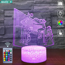 Volleyball LED 3D Night Light Remote 16 Color Nightlight Baby Table Desk Lamp Child Birthday Friend Sport Gift Party Home Decor