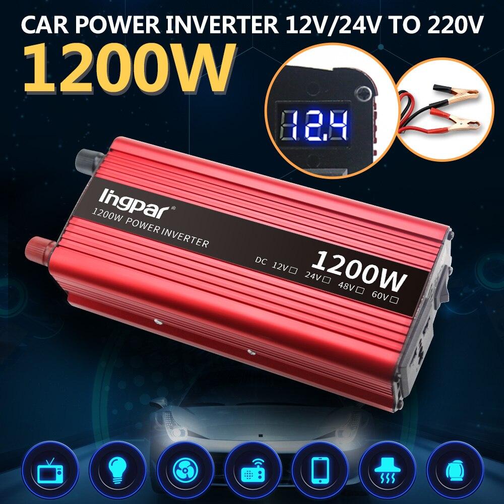 Lingpar 1200 Вт инвертор 12 в 220 в напряжение постоянного тока 12 в переменного тока 220 в автомобильный инвертор зарядное устройство адаптер