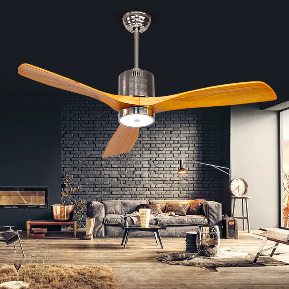 52 Inch Antique Ceiling Fan Light With Remote Control Minimalism Modern Fan Style Led Lamp Solid 3 Wooden Blades 52inch Dropship Ceiling Fans Aliexpress