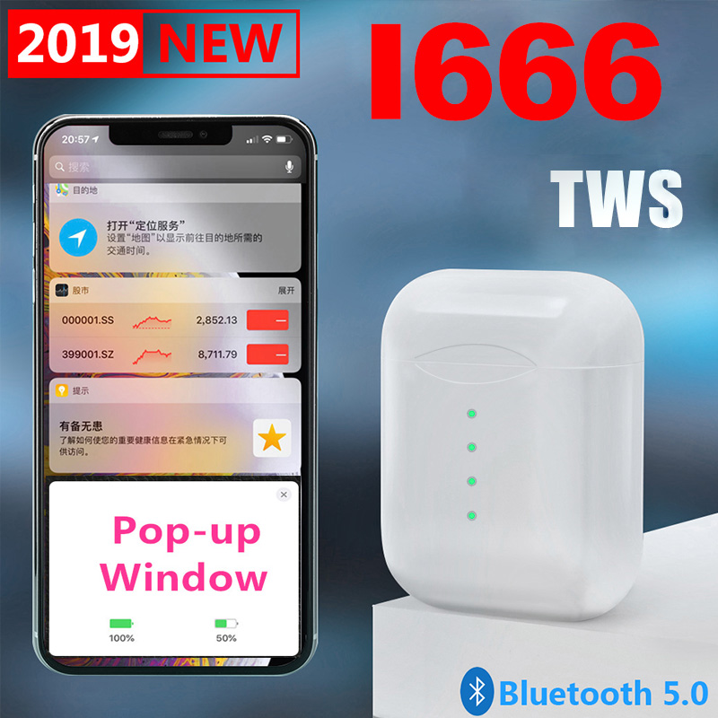 New i666 tws Touch control Wireless Bluetooth earphones Pop up window headset for iPhone pk i10 i11 I12 tws earphones Earbuds