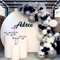 134 шт покрытые серебром 4D воздушные шары-гирлянды арки, серый, белый, чёрный, клипсы для воздушных шаров, на свадьбу и день рождения/воздушные...