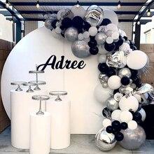 Globos plateados 4D de 144 uds, guirnalda de arco, globos grises, blancos y negros, globo de boda, globo de cumpleaños, decoración para fiesta de cumpleaños, Baby Shower para niños