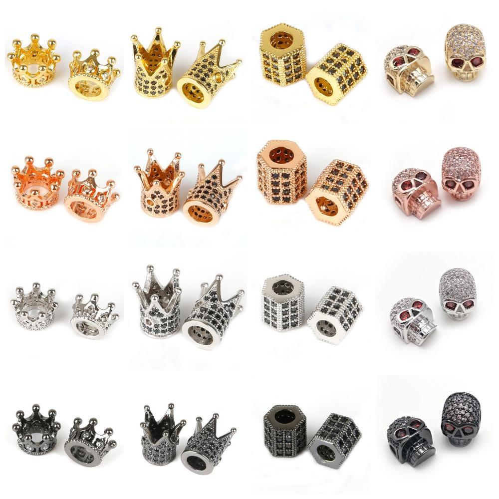 Loose-Spacer-Beads Bracelet Helmet Zircon Crystal Jewelry-Making Crown Skull CZ Micro-Pave