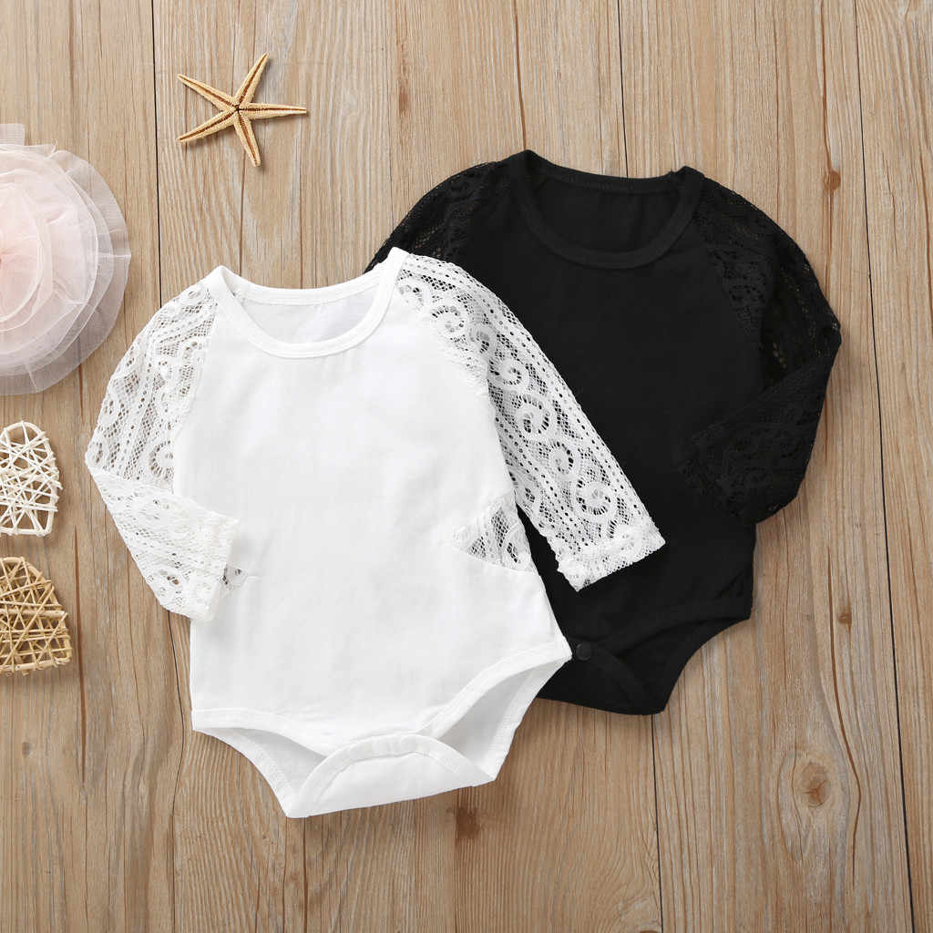 MUQGEW 2019 White Black Romper Costume Newborn Infant Baby Girls New Style Rompers Autumn Long Sleeve Lace Solid Romper Clothes