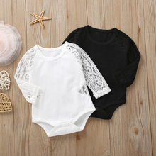 MUQGEW 2019 White Black Romper Costume Newborn Infant Baby Girls New Style Rompers Autumn Long Sleeve Lace Solid Romper Clothes(China)