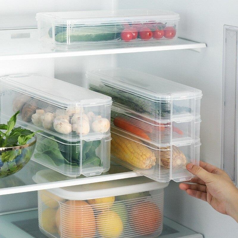 Kitchen Food Storage Box Sealed Crisper Refrigerator Preservation Box Container Kitchen Storage Dumplings Egg Grains Storage Box