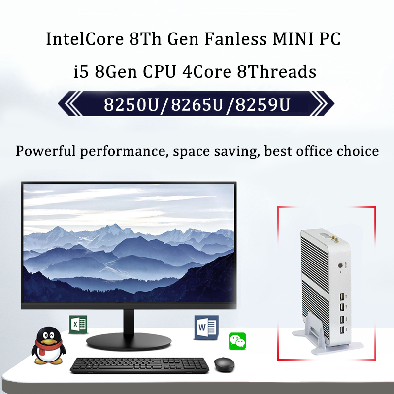 Newest Kaby Lake R 8Gen Fanless mini pc <font><b>i5</b></font> 8250u/8265u <font><b>Intel</b></font> UHD 620 win10 Quad <font><b>Core</b></font> 8 Threads DDR4 <font><b>2400</b></font> 2666 NUC image
