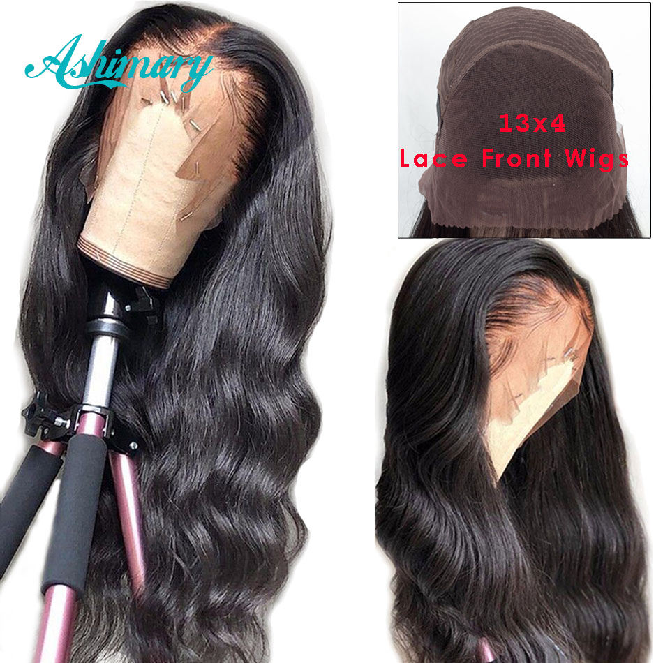 Ashimary Wig Human-Hair-Wigs Brazilian-Hair Body-Wave Lace-Front Pre-Plucked Remy 13x4