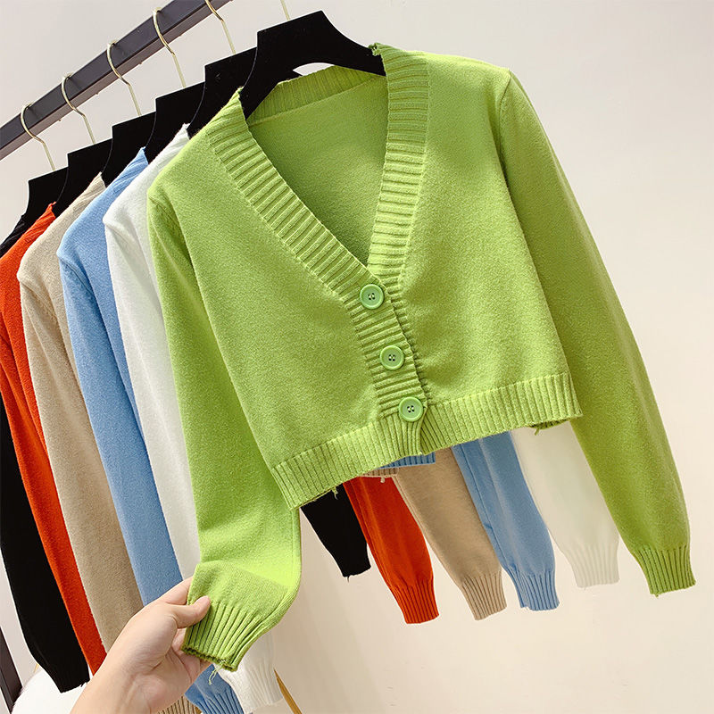 Knitted Crop Cardigan Women Korean Short Sweater Long Sleeve V Neck Green Blue