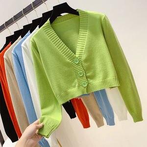 Knitted Crop Cardigan Women Korean Short Sweater Long sleeve V neck Green Blue