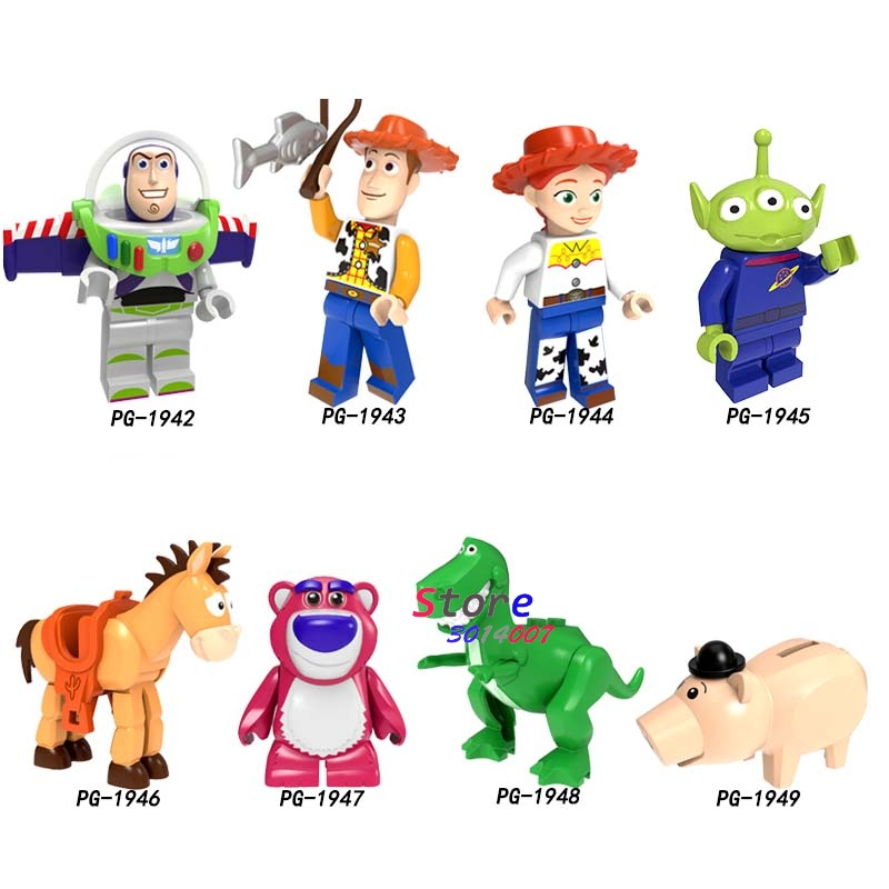 Single Building Blocks Cartoon Toys Story Woody Buzz Jessie Red Hearts Hamm Aliens Bulleye Lotso Sonic Toys For Children