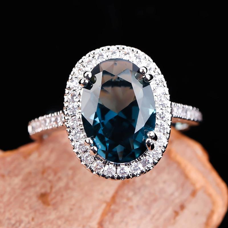 Роскошное большое обручальное кольцо с овальным синим камнем для женщин, классическое серебряное кольцо с кристаллом, ювелирные изделия, к...