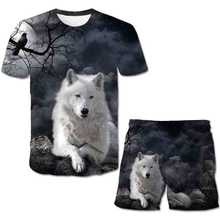 Boys And Girls T-shirt 3D Printed Cartoon Wolf Pattern Fashion Wolf top + Shorts Children Short sleeved Children's Casual Suit