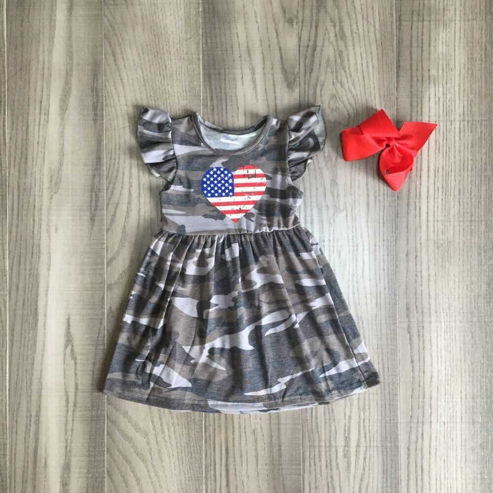 Baby Girls Summer Camouflage Print Dress Girls 4th Of July Dress Children Girls Milk Silk Dress With Bow