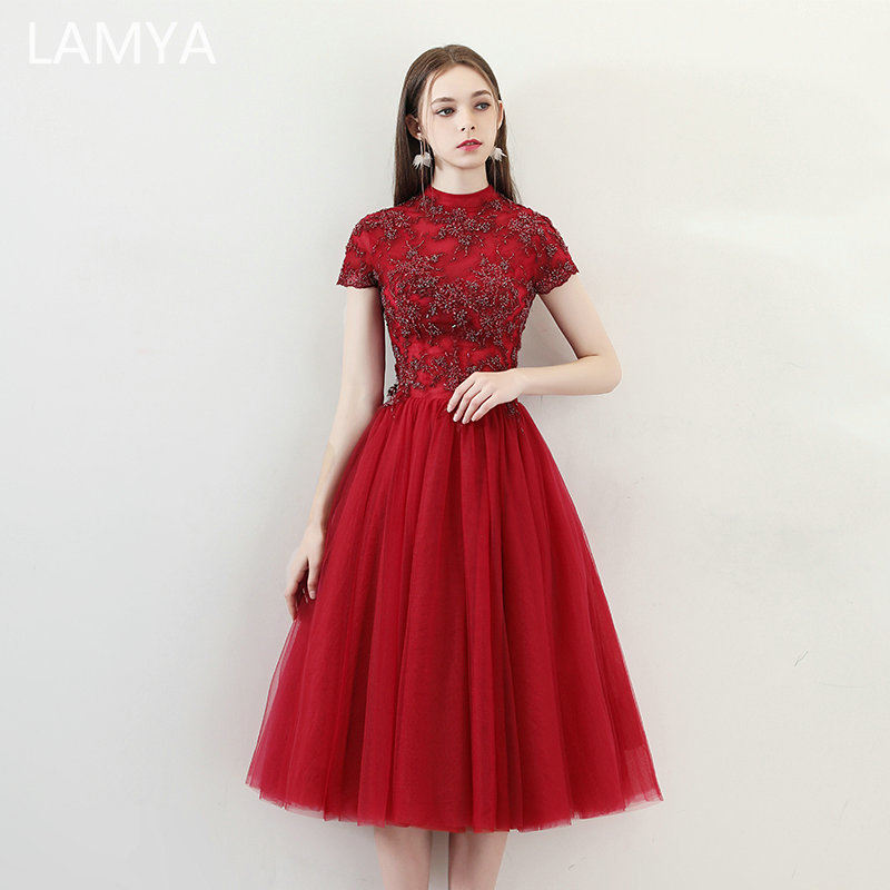 LAMYA Beads With Embroidery Prom Dresses Cap Sleeve Evening Party Dress Simple Formal Gown Customized Special Occasion Dress