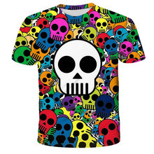 3D Printed Skull T-Shirt for Boys and Girls Motorcycle Skeleton Gothic Retro T-Shirt for Kids 4-14 Years Old Fashion T-Shirt Top