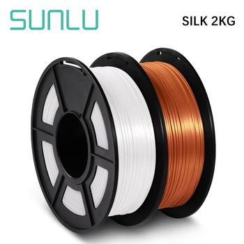 SUNLU SILK Filament PLA Silk 1KG 1 75mm 2 rolki SILK Effect Metal wiele kolorów Silk 3D Filament drukarki dla majsterkowiczów tanie i dobre opinie CN (pochodzenie) solid 335 metrów one-year +-0 02MM Good toughness high hardness 200-230 degree C RoHS Reach 100 no bubble