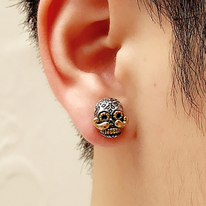 Image 5 - BALMORA 100% Real 925 Sterling Silver Skull & Long Beard Stud Earrings for Men argent homme Gift Being Old Style Fashion Jewelry