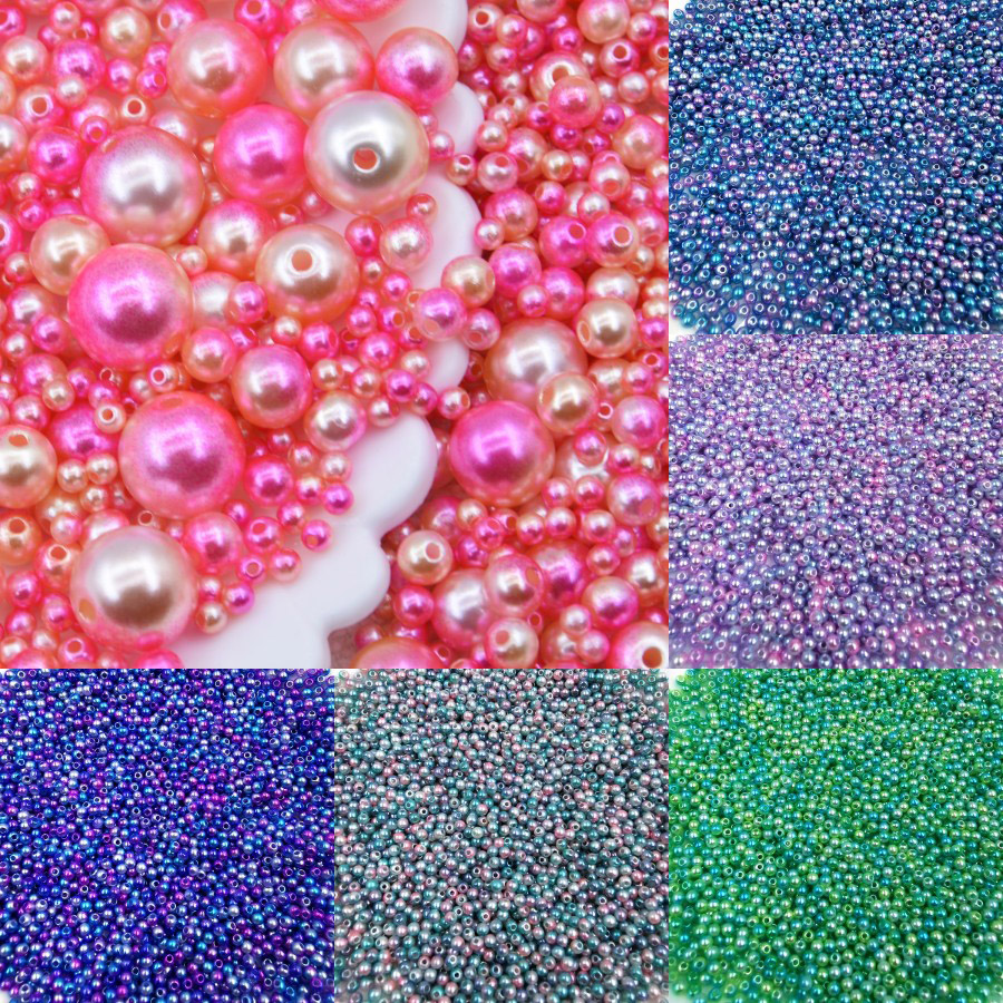 1000pcs 3mm Mix Rainbow Color Round ABS Imitation Pearl Beads Handmade Kids Loose Beads for Diy Jewelry Necklace Making
