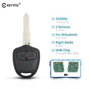 Keyyou chave de controle remoto com 2 botões, fob 433mhz com chip id46 para mitsubishi triton pajero outlander asx lancer mit8 laser