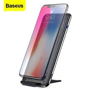 Image 1 - Baseus 10W Drei Spulen QI Drahtlose Ladegerät Für iPhone Xs Max Xs Samsung S9 Hinweis 9 Schnelle Wirless Lade pad Docking Dock Station