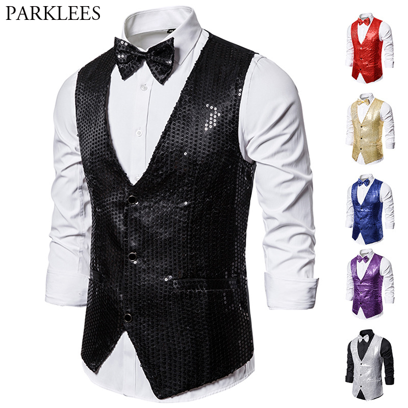 Black Full Sequins Paillette Waistcoat Slim Fit V Neck Shiny Glitter Vests Mens Party Wedding Nightclub Stage Vest With Bowtie