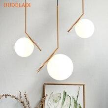 โมเดิร์นสร้างสรรค์ลูกบอลแก้วจี้โคมไฟNordic Home Decoห้องรับประทานอาหารGolden E27 หลอดไฟLEDโคมไฟ