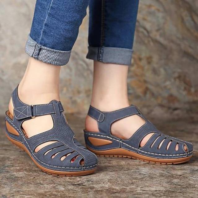 Sandalias Vintage de cuero de verano 2020 para mujer, zapatos de plataforma Retro para mujer, de costura informal, de velcro, para mujer, Tallas grandes 3