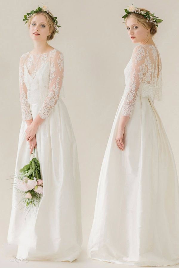 Two Pieces Bridal Gown With Lace Jacket 2018 Three Quarter Sleeve Robe De Soiree Vestido De Festa Mother Of The Bride Dresses