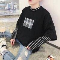 2019 Cool Print Korean Harajuku Black white Hip Hop T shirts Men Women Spring Fake Two Piece Extra Long Sleeve Loose T Shirt