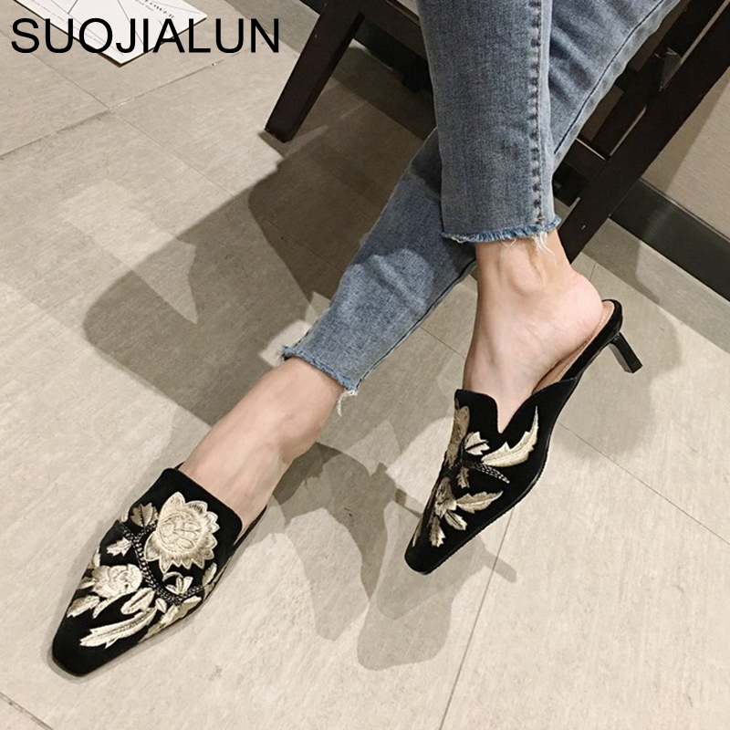 SUOJIALUN 2020 Spring Fashion Women Slipper Embroider Slip On Mule Shoes Low Heel Outdoor Sandals Slides Casual Flip Flops
