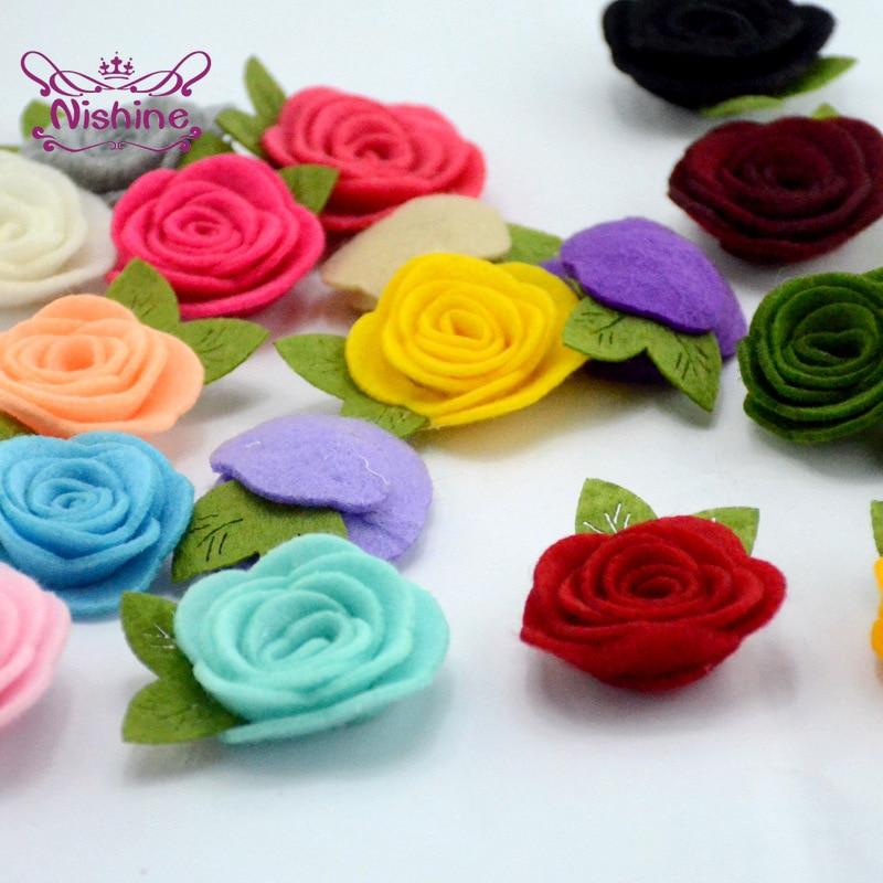 Nishine 10 шт./лот Войлок листа цветы для Diy повязка на голову для девочек милые Ткань розы для детей аксессуары для волос