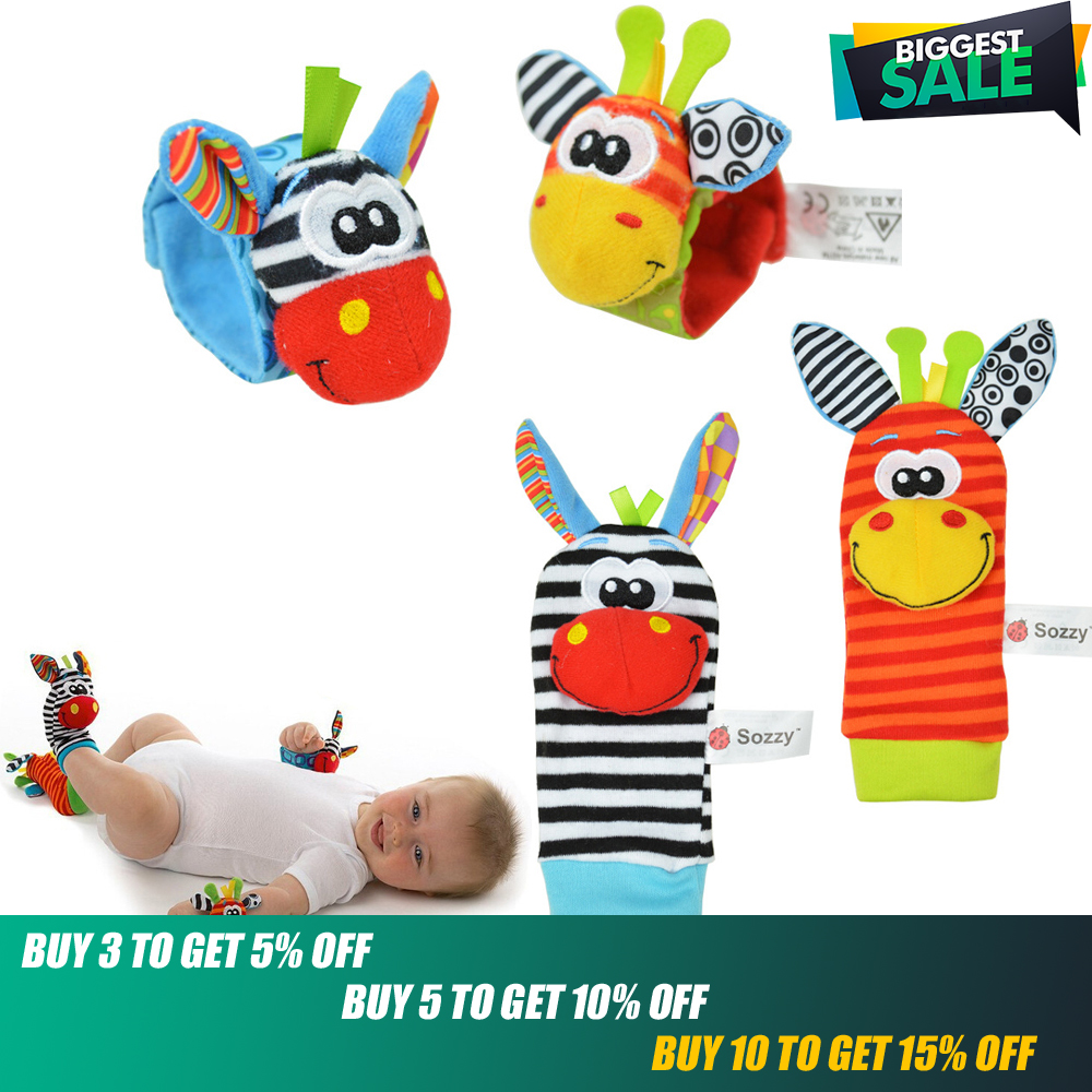 4pcs/lot Sozzy Baby Toys Garden Bug Wrist Rattle And Foot Socks 4 Style(2 Wrist Rattles 2 Socks)
