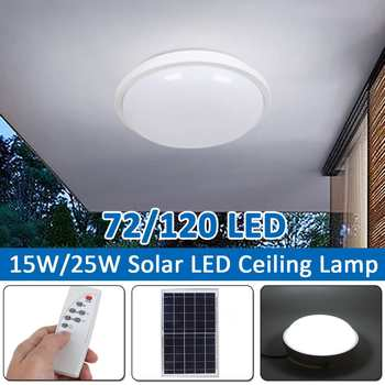 15W/25W Remote Control Solar LED Ceiling Lamp Soft Light Effect Round Bulb Indoor Outdoor Waterproof Garage LED Ceiling Lights