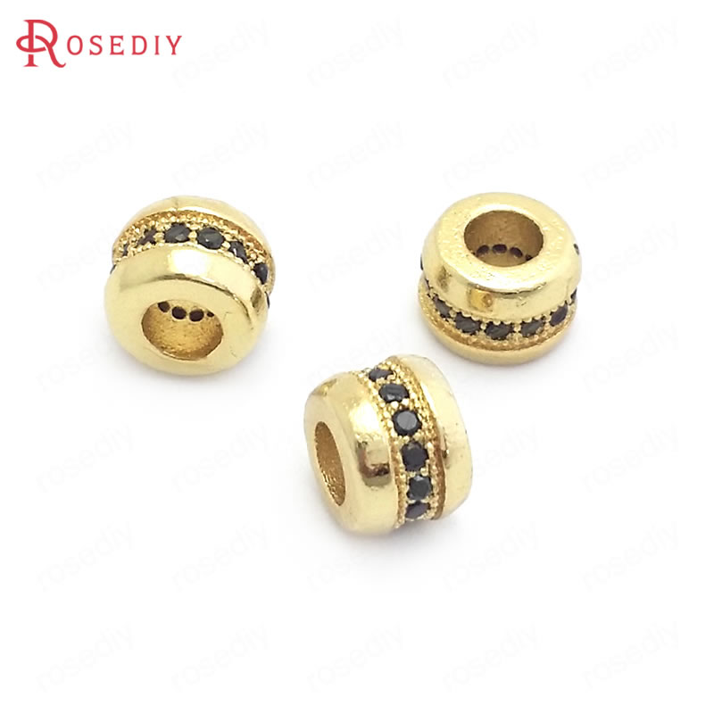 (37830)6PCS 7MM 24K Gold Color Brass with Zircon Round Spacer Beads Bracelets Beads Jewelry Making Supplies Diy Accessories