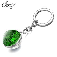 Pendant Keyring Computer Geeks-Accessories Glass-Ball Keychain Creative Men Gift Double-Sided