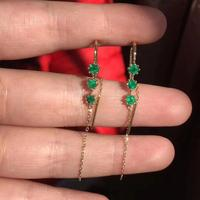 natural green Emerald drop earrings 925 silver Natural gemstone Ear line Simple delicate long line women party gift jewelry